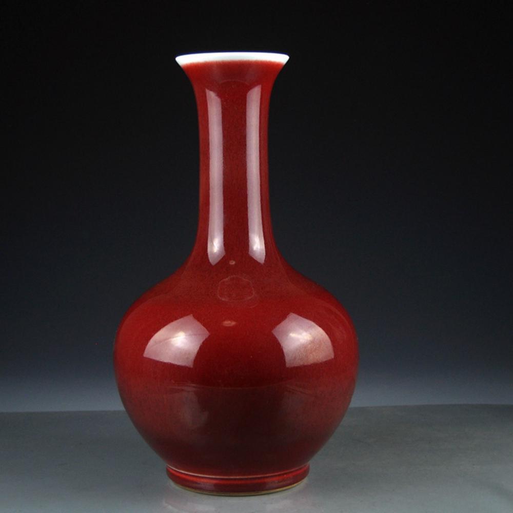 Chinese Qing Dy Lang Kiln Red Glaze Porcelain Vase w Kangxi Mark