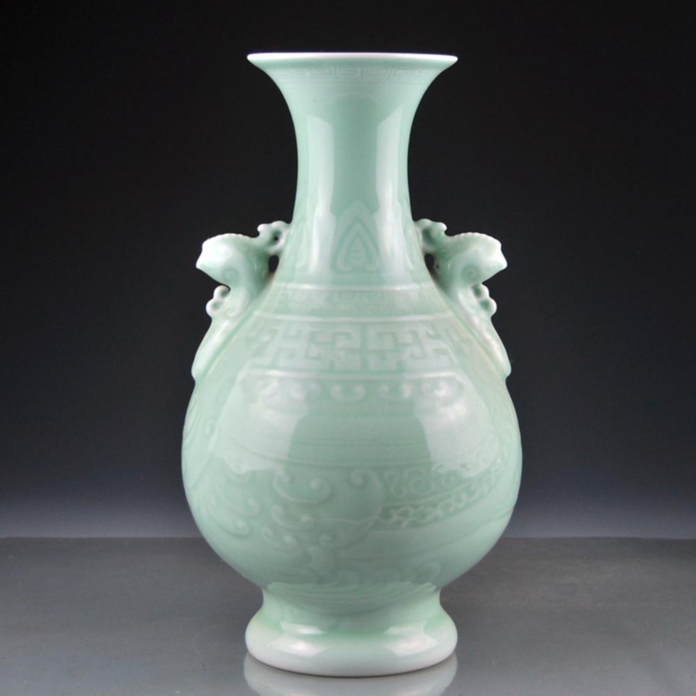 Beautiful Chinese Dou Qing Glaze Double Ears Porcelain Vase