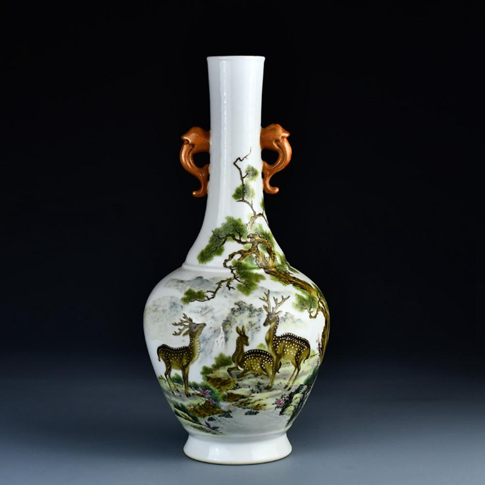 Superb Chinese Qing Dy Famille Rose Double Ears Deer & Pine Tree Porcelain Vase w Qianlong Mark