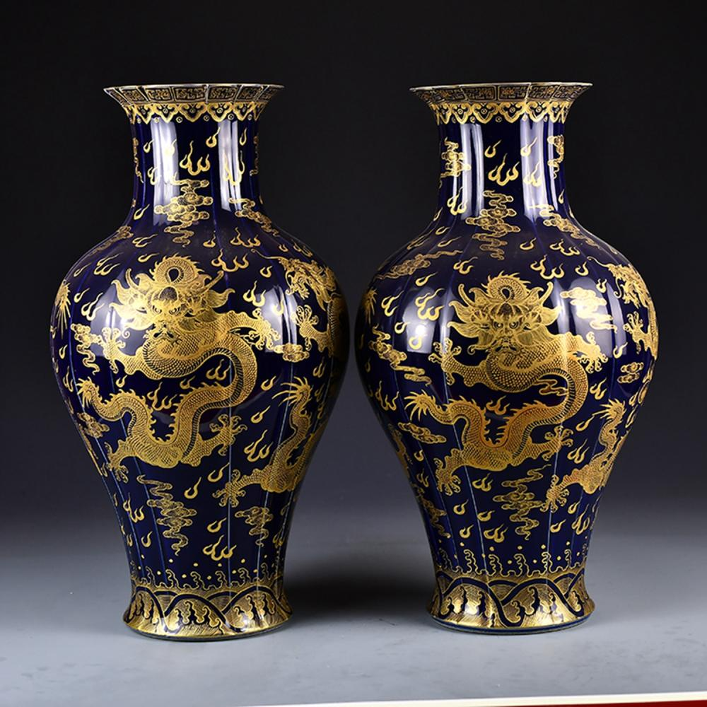 A Pair Chinese Qing Dy Gilt Gold Jilan Glaze Dragon Design Porcelain Big Vases