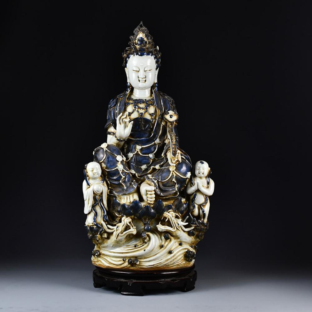 Vintage Chinese Blue Glaze Porcelain Kwan-yin & Fortune Kids Statue