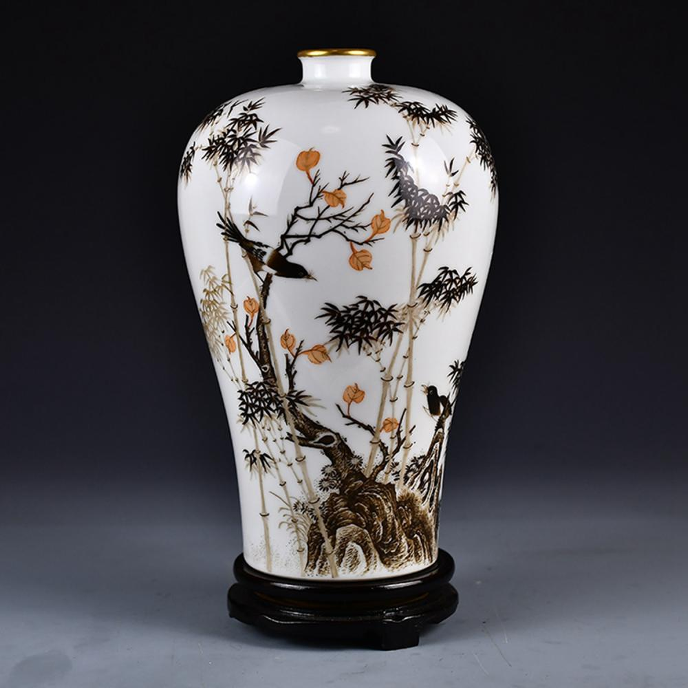 Superb Chinese Qing Dy Gilt Edge Ink Glaze Porcelain Vase W  Magpies , Bamboos & Poetic Prose