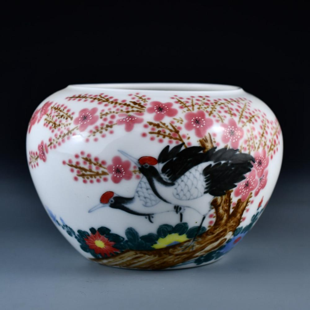 Beautiful Chinese Famille Rose Porcelain Brush Washer W Cranes & Plum Blossoms