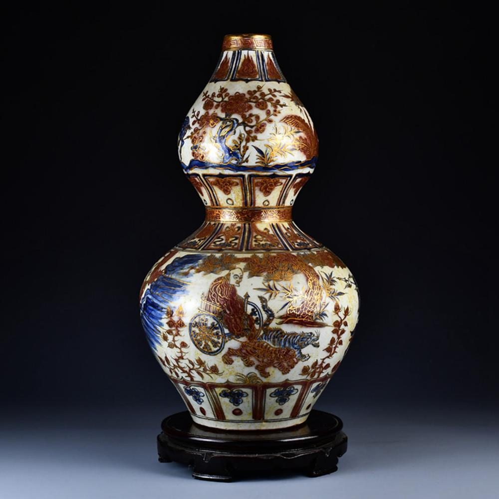 Chinese Ming Dy Gilt Gold Underglaze Red + Blue And White Porcelain Gourd Bottle