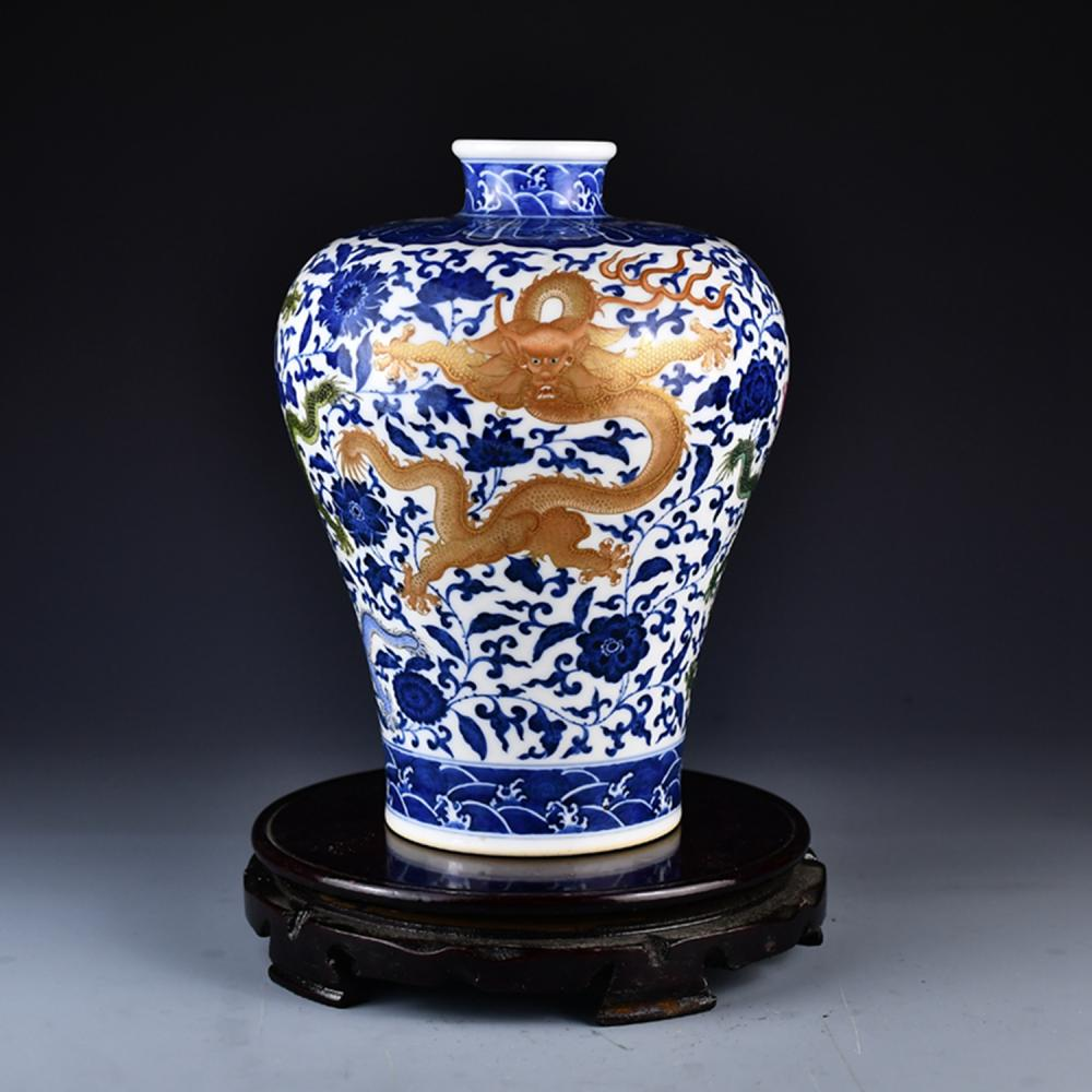 Chinese Qing Dy Gilt Gold Five Dragon Blue And White Porcelain Vase
