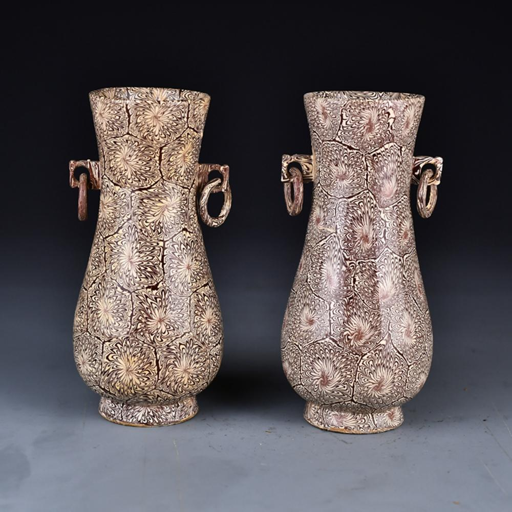 A Pair Beautiful Chinese Twisted Tire Porcelain Vases