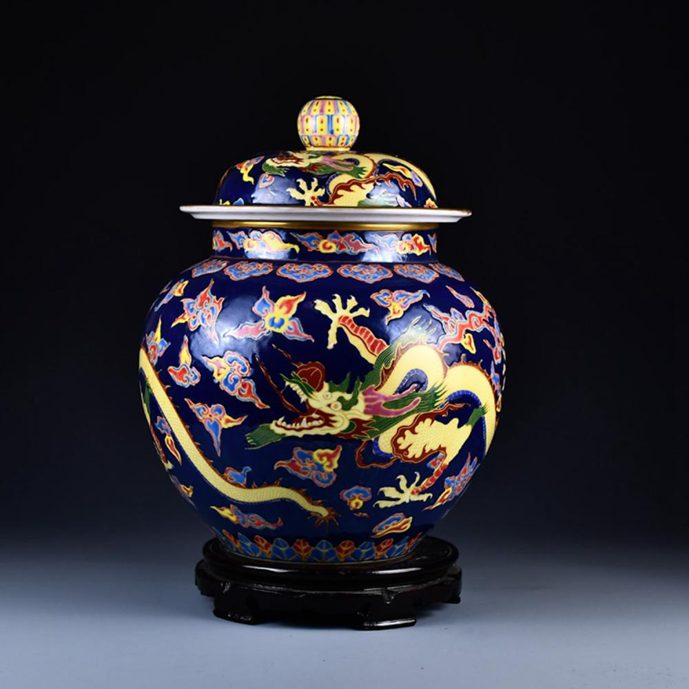 Superb Chinese Qing Dy Gilt Edges Enamel Dragon Design Porcelain Pot