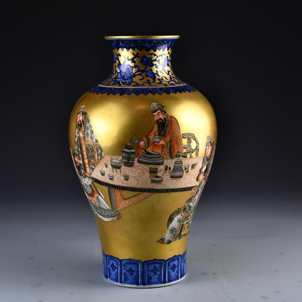 Superb Chinese Qing Dy Gilt Gold  Famille Rose Figures Porcelain Vase
