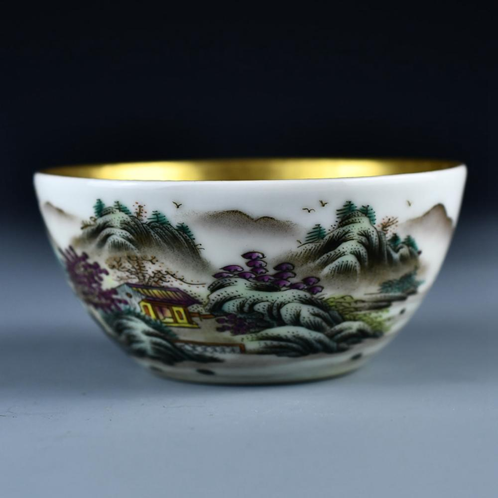 Chinese Qing Dy Gilt Gold Famille Rose Porcelain Bowl w Qian Long Mark