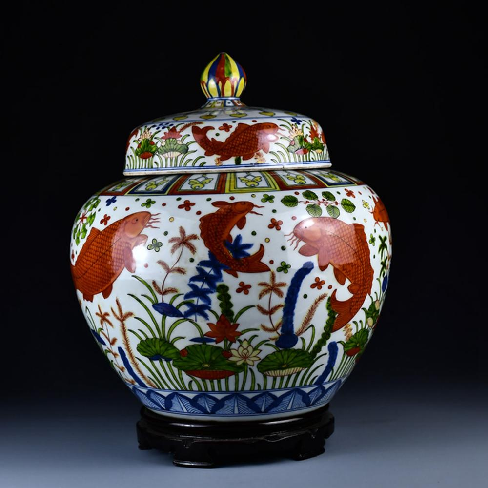 Superb Chinese Ming Dy Wu Cai Porcelain Big Pot w Fish And Seaweed Design