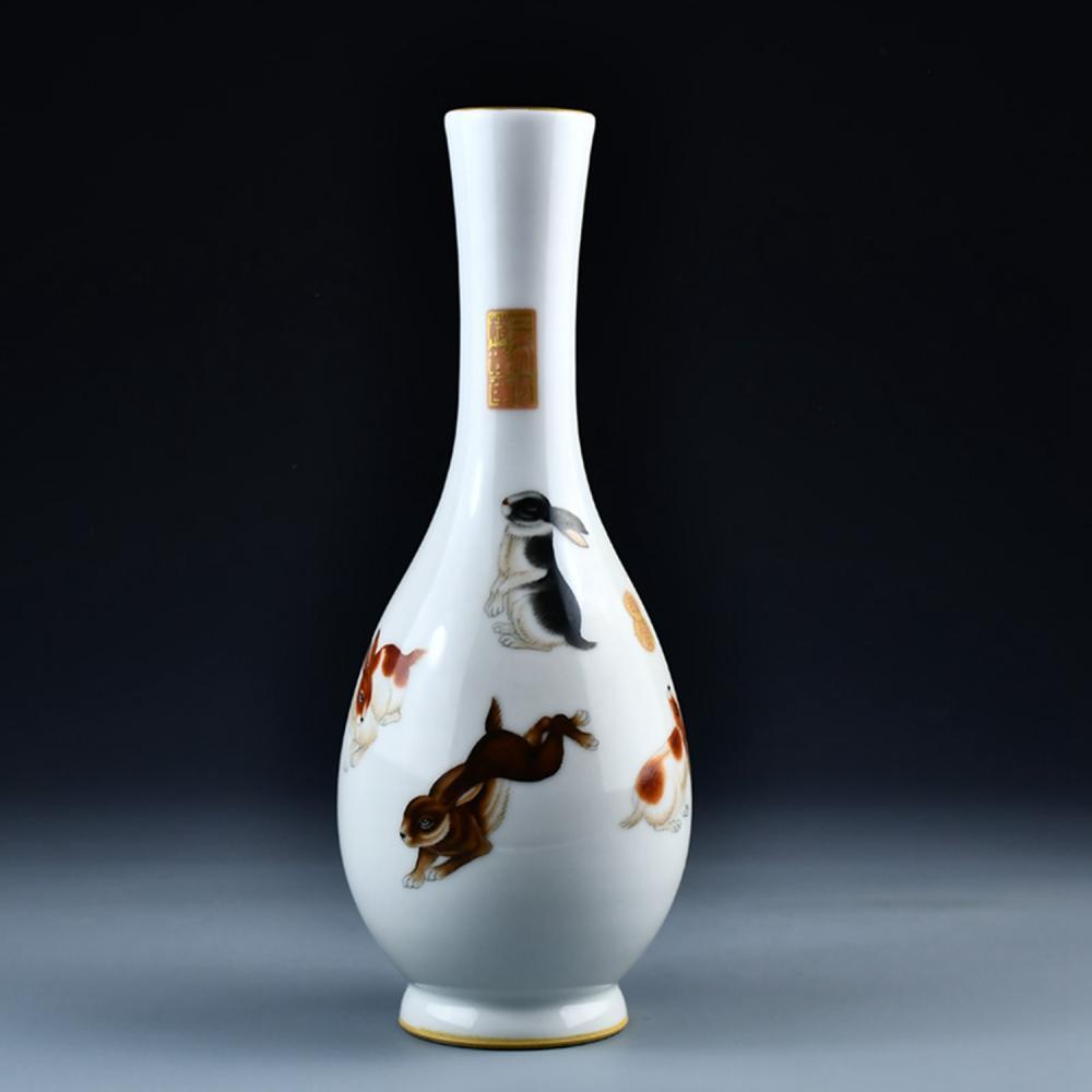 Chinese Qing Dy Gilt Gold Enamel Rabbits Porcelain Vase