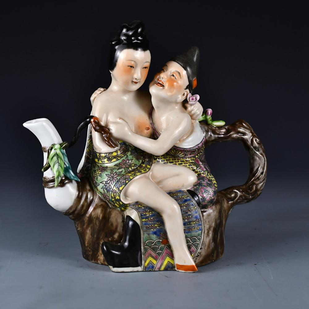 Chinese Famille Rose Figures Porcelain Teapot