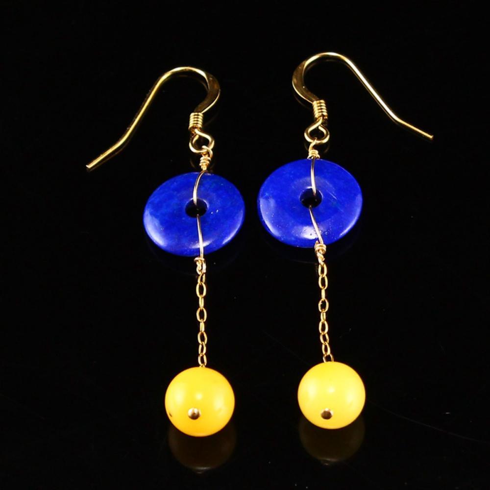 A Pair Beautiful 18k Gold & Natural Lapis Lazuli And Amber Earrings w Certificate