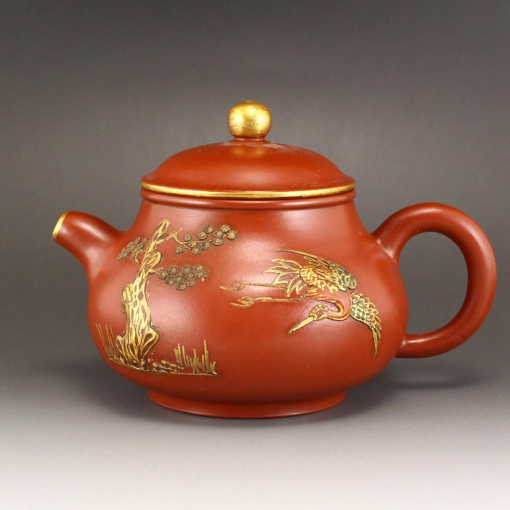 Chinese Gilt Gold Yixing Zisha Clay Teapot w Artist Signed