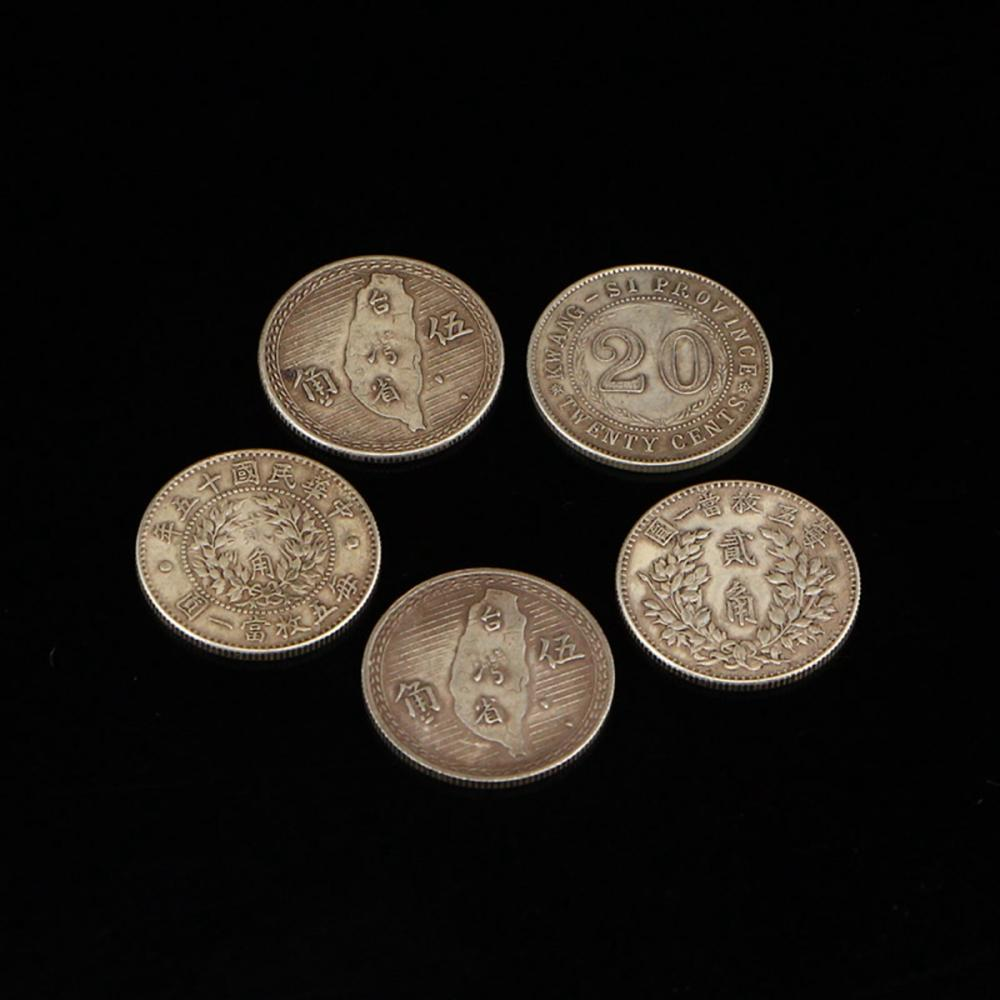 Five Chinese Min Guo Period Sterling Silver Coins