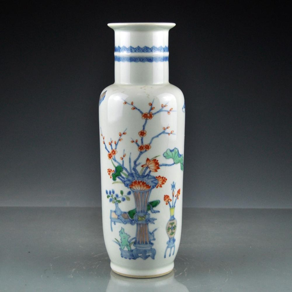 Beautiful Chinese Famille Rose Porcelain Vase w Kangxi Mark