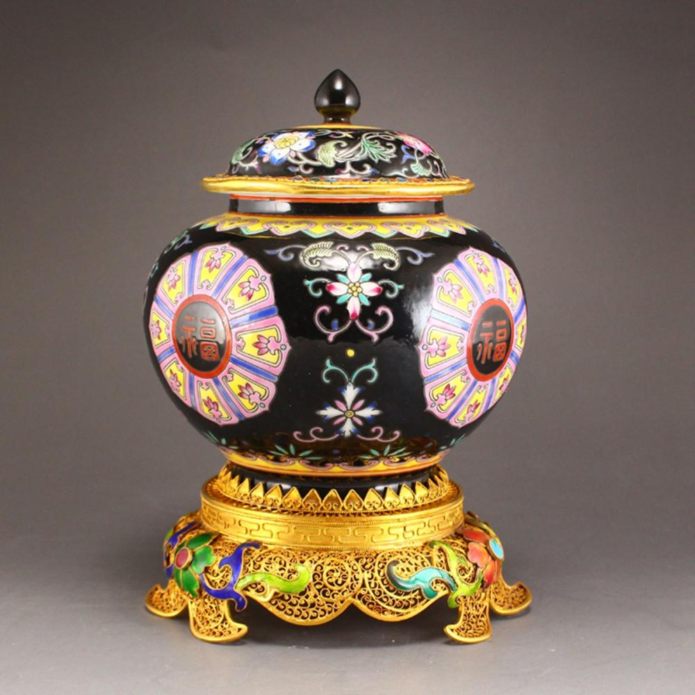 Superb Chinese Black Ground Famille Rose Porcelain Jar & Gold Wire Enamel Base w Yongzheng Mark