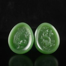 A Pair Hand-carved Chinese Natural Green Hetian Jade Pendant - Dragon & Phoenix