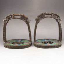 A Pair Vintage Chinese Bronze Cloisonne Saddles