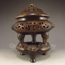 Vintage Chinese Bronze 3 Leg Incense Burner & Bronze Base