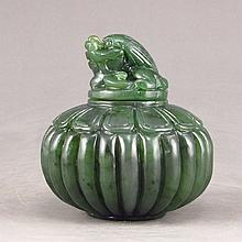 Hand Carved Chinese Natural Green Hetian Jade Snuff Bottle
