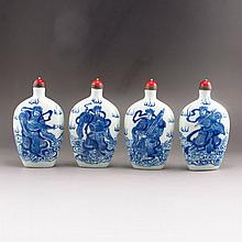 A Set Four Piece Hand-painted Chinese Blue And White Porcelain Snuff Bottle w Jing Yu Tang Mark