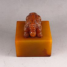 Hand Carved Chinese Natural Shoushan Seal w Pi Xiu Dragon & Ball