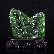Hand Carved Chinese Natural Green Hetian Jade Statue w Fortune Kids & Bat
