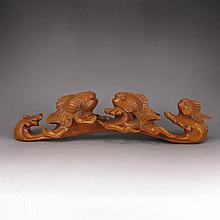 Hand Carved Chinese Natural Boxwood Hard Wood Ruyi Scepter Statue w Fishes