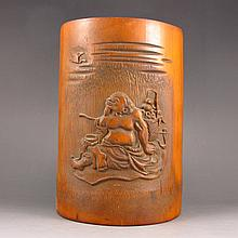 Hand Carved Chinese Bamboo Brush Pot w Old Man
