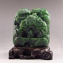 Hand Carved Chinese Natural Green Hetian Jade Statue w Sage Pine Tree & House