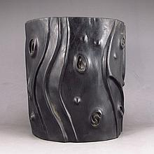 Hand Carved Chinese Natural Black Sanders Wood Brush Pot