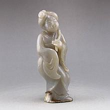 Vintage Hand-carved Chinese Natural Hetian Jade Statue - Woman