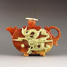 Superb Hand-carved Chinese Shoushan Stone Teapot w Dragon & Fire Ball