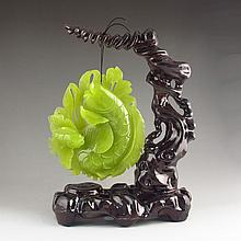 Beautiful Color Hand-carved Chinese Natural Jade Statue - Lucky Fish