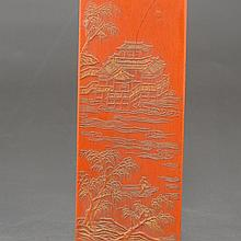 Genuine Chinese Cinnabar Red Ink Block for Ink Stone Carved Landscape & Attic