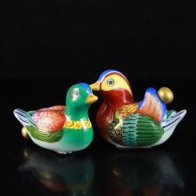 A Pair Chinese Enamels Porcelain Mandarin Ducks Snuff Bottle