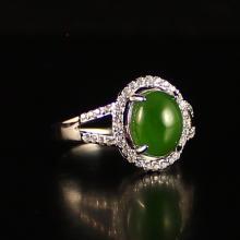 Chinese 925 Silver Inlay Green Hetian Jade Ring