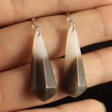 A Pair Chinese Hetian Jade Earrings