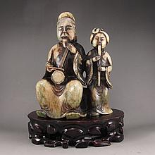 Vintage Hand Carved Chinese Natural Jade Statue - Music Old Man & Music Woman