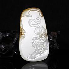 Hand Carved Chinese Natural Hetian Jade Pendant w Tiger