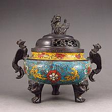 Chinese Bronze Cloisonne Incense Burner w Xuan De Mark