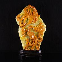 Superb Hand Carved Chinese Natural Shoushan Stone Statue w Two Phoenix