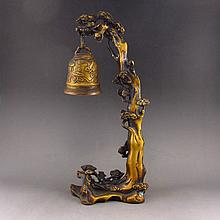 Chinese Brass Statue - Pine Tree & Small Bell