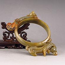 Vintage Hand Carved Chinese Hetian Jade Arm Bracelet w Dragon & Phoenix