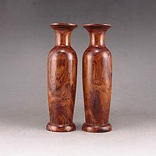 A Pair Hand Carved Chinese Natural Huang Hua Li Wood Vase