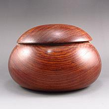 Hand Carved Chinese Huang Hua Li Hard Wood Weiqi Jar