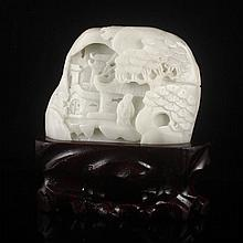 Hand Carved Chinese Natural Hetian Jade Statue - Sage & Pine Tree