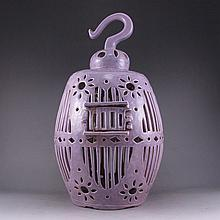 Chinese Handmade Hollow Out Carved Purple Glaze Porcelain Birdcage