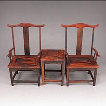 A Set Hand Carved Chinese Natural Hua Li Wood Chair & Table Statue